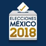 Elecciones Mexique 2018, élections du Mexique 2018 Espagnols textotent, urne de vote de jour d'élection présidentielle illustration de vecteur