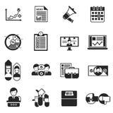 Elecciones que votan el sistema del negro de los iconos stock de ilustración