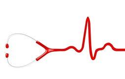 Elecktrocardiogram与听诊器的脉冲图表 图库摄影