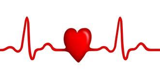 Elecktrocardiogram (ECG) grafiek met hartvorm Stock Afbeeldingen