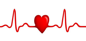 Elecktrocardiogram (ECG) graph with heart shape. Isolated on white background Stock Images