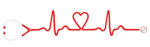 Elecktrocardiogram (ECG) graph with heart shape and stethoscope. On white background Royalty Free Stock Images