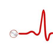 Elecktrocardiogram (ECG) graph with stethoscope. On white backround Stock Image