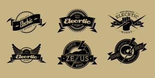 Elecrtic funziona l'insieme di etichette nero Fotografia Stock Libera da Diritti