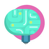 Elecrtonic Brain For Android, Human Organ Replica, Part Of Futuristic Robotic And IT Science Series Of Cartoon Icons Royalty Free Stock Image