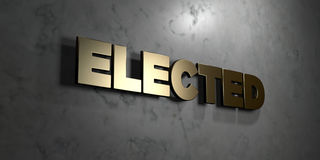 Elected - Gold sign mounted on glossy marble wall  - 3D rendered royalty free stock illustration Royalty Free Stock Photo