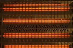 Electic Heater. Infrared electric heater lamps. Close up stock image