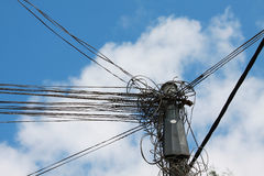 Electic wires under blue sky Stock Photo