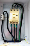 Electical distribution fuse board. Electrical supplies. Royalty Free Stock Photos