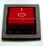 Electical power switch. ELectrical power switch ON - OFF. Red with black border Royalty Free Stock Photo