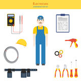 Electician and his tools. Professional tool set  illustration. Electrician and electrical hand tools (screwdrivers, cutters, cable tie gun), multimeter Royalty Free Stock Photos