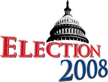 Election 2008 with Capitol Dome. Graphic for the upcoming US Elections for officials in the federal government Stock Photography