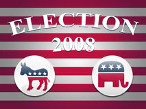 Election 2008 Stripes Background. Desktop background with red and white stripes and democrat and republican logo buttons Stock Image