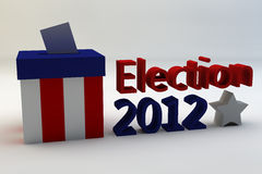 Election 2012. The words Election 2012 set against a white back ground along with a vote box and a white star Royalty Free Stock Images