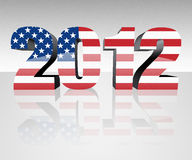Election 2012. Year 2012 with flag wrapped over it to promote voting in the presidential election. Patriotic image Royalty Free Stock Photos