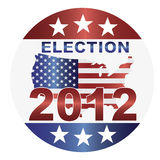 Election 2012 Button Illustration. Election 2012 with USA Flag in Map Silhouette Illustration Royalty Free Stock Photo