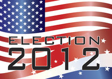 ELECTION 2012 Illustration. Election 2012 with Stars and Stripes and US Flag Illustration stock illustration