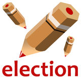 Election. Using a red pencil to cast your vote during election time Stock Photo
