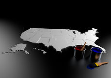 Election. A gray map of the United States on a black surface. A bucket of red paint and a bucket of blue paint with paintbrushes nearby Royalty Free Stock Photo