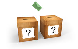 Election. Cardboard boxes for voting with question mark and letter Stock Photos