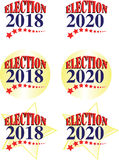 Election 2018 and 2020 American Graphic. Election 2018 and 2020 illustrations or vector graphics web icons with red, white and blue colors against a gold star Royalty Free Stock Images