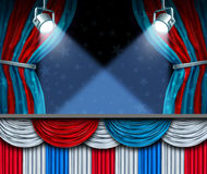 Election Background. Or fourth of July design element with stage spot lights and curtains with blank space as a concept for patriotic celebration or campaigning Stock Image