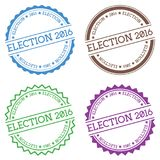 Election 2016 badge isolated on white background. Flat style round label with text. Circular emblem vector illustration stock illustration