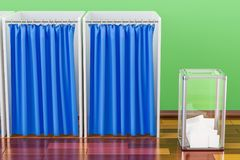 Election ballot box with polling booths in room on the wooden fl. Oor, 3D Royalty Free Stock Image