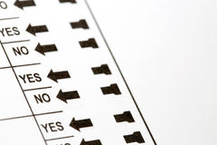 Election Ballot Yes and No Choices Royalty Free Stock Image