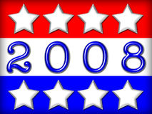 Election Banner. Red, white and blue stars and stripes with text 2008 in blue metallic font Stock Image