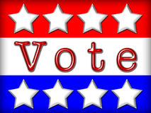 Election Banner. Red, white and blue stars and stripes with text VOTE in red metallic font Stock Photography