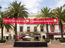 Election banners in Ayamonte, Andalucia Spain. Stock Photo