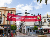 Election banners in Ayamonte, Andalucia Spain. Royalty Free Stock Photos