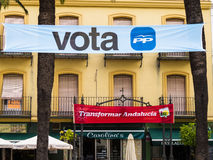 Election banners in Ayamonte, Andalucia Spain. Royalty Free Stock Photo