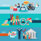 Election Banners Set. Election horizontal banners set with flat voting elements isolated vector illustration Stock Photos