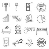 Election black simple outline icons set eps10 Stock Photography