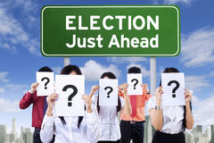 Election board and unknown people Royalty Free Stock Photography