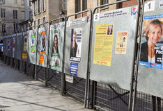 Election boards in Paris, France Stock Images