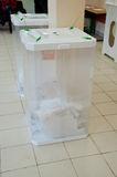 Election box with ballots. MOSCOW, RUSSIA - MARCH 4: Election box with ballots of candidates of Russian President on March 4, 2012 at the local election Royalty Free Stock Photos