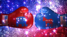 Election Boxing Gloves Explosion 4K. Features two boxing gloves representing the republican and democratic parties coming together with an explosion with smoke stock video
