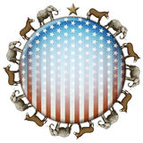 Election Button. Election stars and stripes button with elephants and donkeys representing the Democratic and Republican parties vector illustration