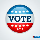 Election campaign button 2012. Vote election campaign badge button for 2012 Royalty Free Stock Photos