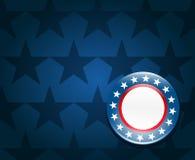 Election campaign button background. Election campaign button on blue background Stock Photo