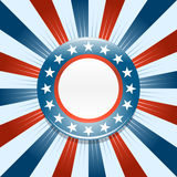 Election campaign button background. Election campaign button on red white and blue background Royalty Free Stock Images