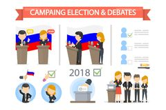 Election campaign and debates. People on tribune with ballot box and voters Stock Photography