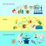 Election Campaign Process Banner. Election campaign debate and voting  process diagramm banner set in yellow and blue background  vector illustration Royalty Free Stock Photo