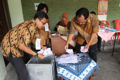 Election. The clerk was counting the votes in the election in the city of Solo, Central Java, Indonesia Stock Images