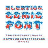 Election comic font. Political debate in America alphabet. USA N. Ational ABC. Colors of American flag letters Stock Photos