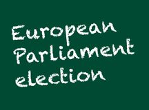 Election concept. European Parliament election written on  a chalkboard with chalk. Vector available.. Stock Illustration stock illustration