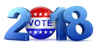 2018 election - 3d rendering. 2018 election text isolated on white - 3d rendering Stock Illustration
